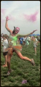 This is my fav picture of me jumping and throwing pink powder #SWEATPINK