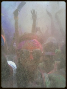 During the after party!!  That is colored powder floating around me!